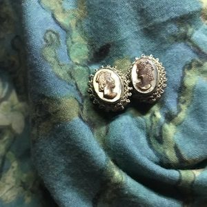 Vintage Clip-On Cameo Earrings